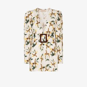 Adriana Degreas Womens White Orchid Print Belted Playsuit