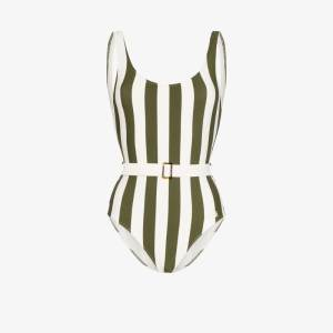 Solid & Striped Womens White Anne Marie Belted Striped Swimsuit