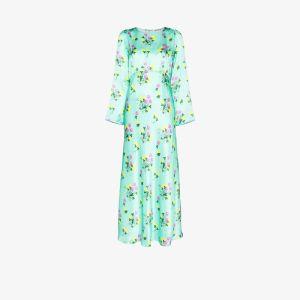 Bernadette Womens Green Jane Floral Print Silk Dress