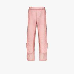 Craig Green Mens Pink Quilted Sheer Panel Trousers