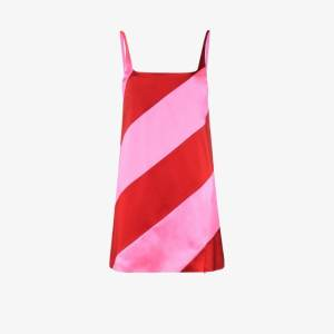 House Of Holland Womens Pink Striped Satin Mini Dress