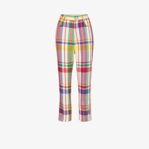 Area Womens Neutrals Crystal Rainbow Plaid Straight Leg Trousers