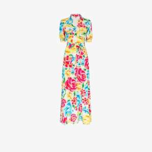 All Things Mochi Womens Yellow Floral Print Shirt Dress