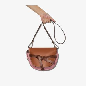 Loewe Womens Brown And Pink Gate Small Leather Shoulder Bag