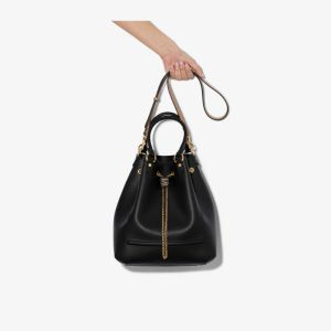 Fendi Womens Black Chain Leather Bucket Bag