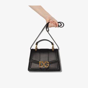 Dolce & Gabbana Womens Black Dg Amore Leather Cross Body Bag
