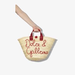 Dolce & Gabbana Womens Neutrals Neutral Kendra Logo Embroidered Raffia Tote Bag