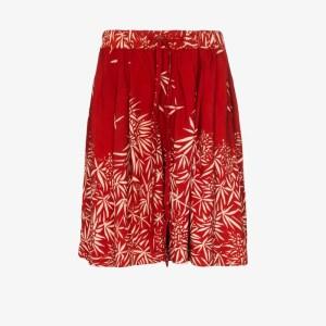 Story Mfg. Mens Red Bridge Leaf Print Shorts