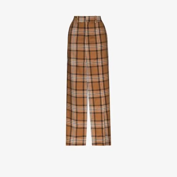 A.w.a.k.e. Mode Womens Multicolour Checked Split Maxi Skirt