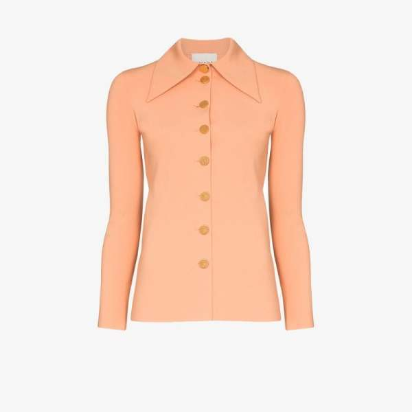 A.w.a.k.e. Mode Womens Orange Exaggerated Collar Fitted Shirt
