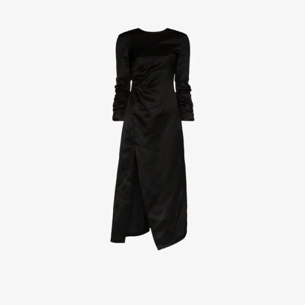 A.w.a.k.e. Mode Womens Black Ruched Side Split Midi Dress