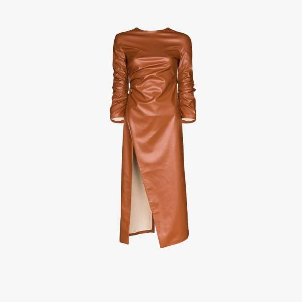 A.w.a.k.e. Mode Womens Brown High Slit Faux Leather Midi Dress