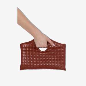 A.w.a.k.e. Mode Womens Brown Anouk Vegan Leather Quilted Clutch Bag