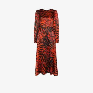 Borgo De Nor Womens Black Elitsa Tiger Print Midi Dress