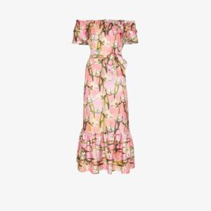 Borgo De Nor Womens Pink Floral Off-the-shoulder Midi Dress
