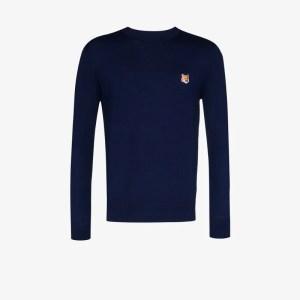 Maison Kitsuné Mens Blue Fox Patch Merino Wool Sweater