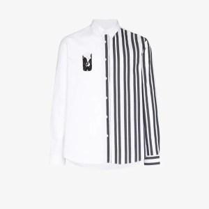 Kenzo Mens White Striped Mermaid Print Shirt