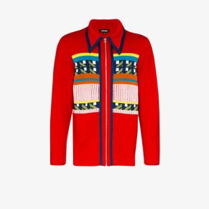 Ahluwalia Studio Mens Red Gabbo Patterned Cardigan