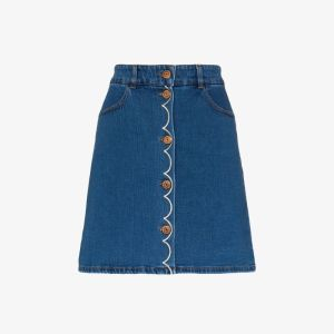 See By Chloé Womens Blue Button-down Embroidered Denim Mini Skirt