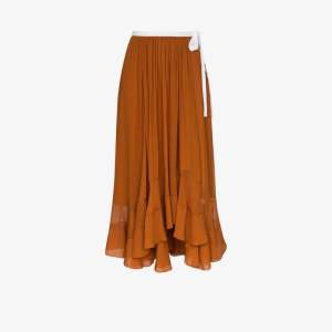 Chloé Womens Brown Mousseline Silk Ribbon Midi Skirt