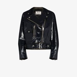 Acne Studios Womens Blue Hand Painted Leather Biker Jacket