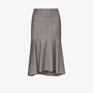 Balenciaga Womens Grey Godet Hem Wool Pencil Skirt