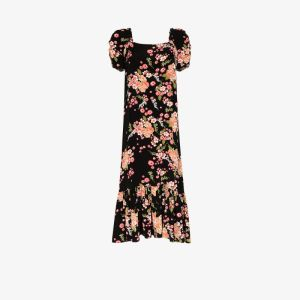 Bytimo Womens Black Floral Print Midi Dress