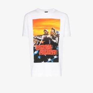 Marcelo Burlon County Of Milan Mens White Easy Rider Print Cotton T-shirt