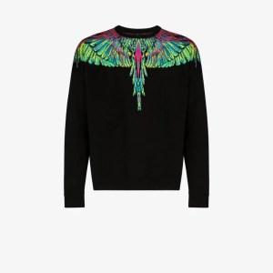 Marcelo Burlon County Of Milan Mens Black Neon Wings Sweater