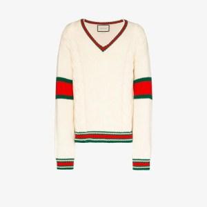 Gucci Mens White Web Stripe Wool Sweater