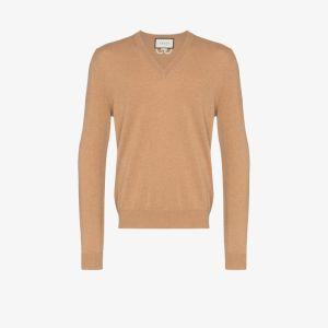 Gucci Mens Neutrals V-neck Cashmere Sweater