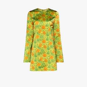 Marques'almeida Womens Green Floral Satin Mini Dress