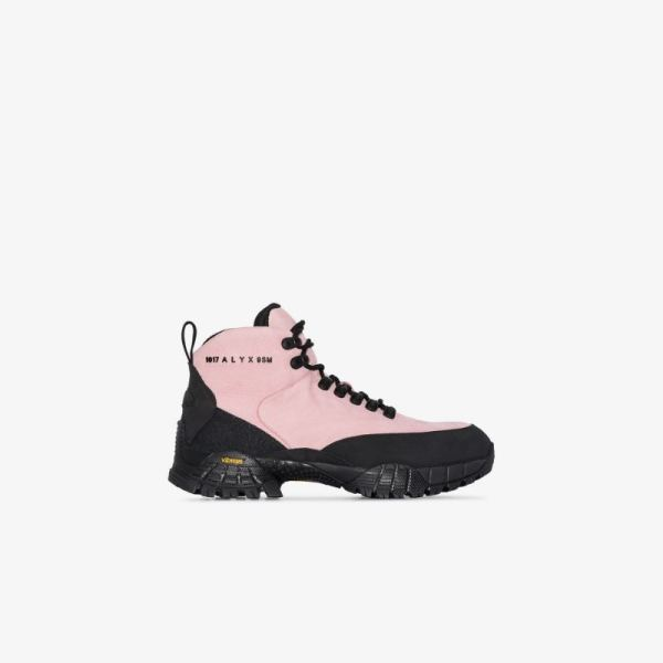 1017 Alyx 9sm Womens Pink Logo Print Leather Hiking Boots