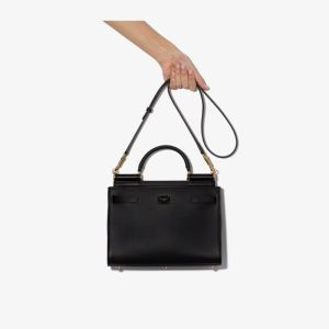 Dolce & Gabbana Womens Black 62 Small Leather Tote Bag