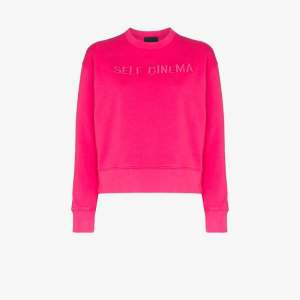Self Cinema Womens Pink Embroidered Logo Cotton Sweatshirt