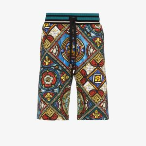 Dolce & Gabbana Mens Black Kings Age Print Bermuda Shorts