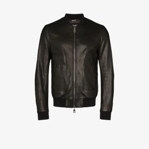 Dolce & Gabbana Mens Black Logo Plaque Leather Bomber Jacket