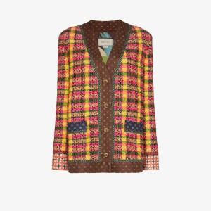 Gucci Womens Brown Checked Tweed Wool Jacket