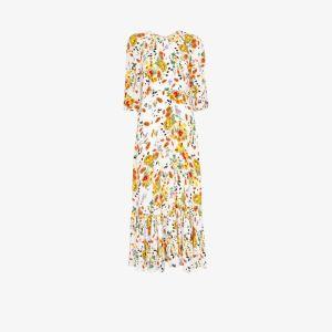 Bytimo Womens White Floral Print Flared Hem Dress
