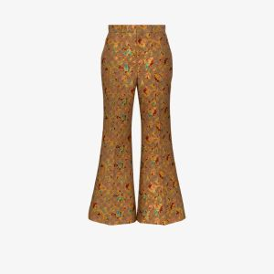 Gucci Womens Brown Floral Jacquard Flared Trousers