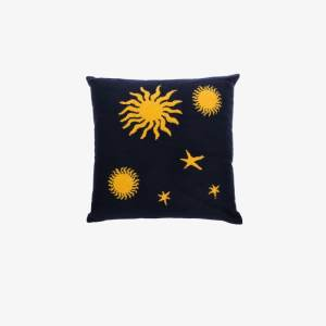 The Elder Statesman Mens Blue Navy And Yellow Astronomy Cashmere Knit Pillow