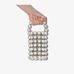Vanina Womens Metallic Silver Comino Beaded Mini Bag