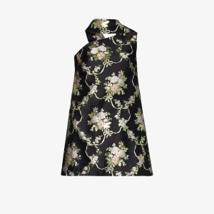 Taller Marmo Womens Black Sheba Floral Jacquard Mini Dress