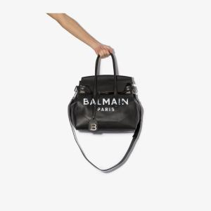 Balmain Mens Black Logo Print Leather Shoulder Bag