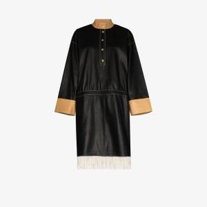 Stand Studio Womens Black Kendall Fringed Leather Dress