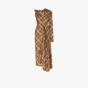 A.w.a.k.e. Mode Womens Brown Checked Asymmetric Pleated Midi Dress
