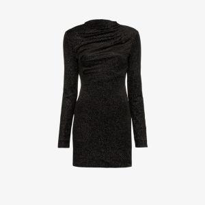 Rta Womens Black Harper Ruched Glitter Mini Dress