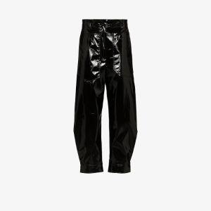 Tibi Womens Black Patent Press Popper Tapered Trousers