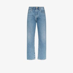 Goldsign Womens Blue Relaxed Mid-rise Straight Leg Jeans