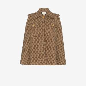 Gucci Womens Brown Gg Motif Wool Cape
